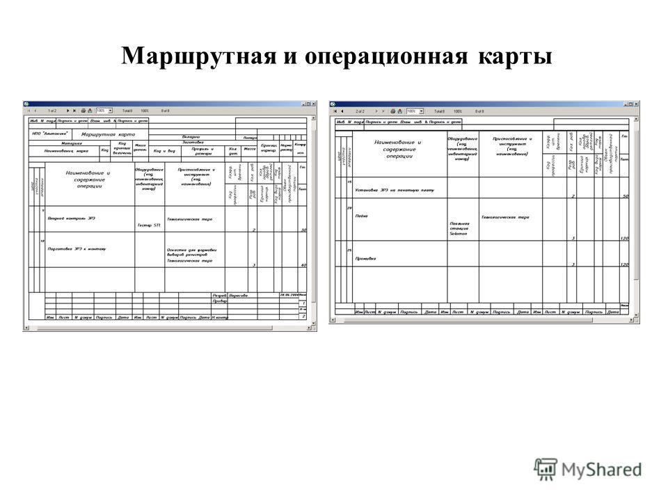 Маршрутная и операционная карты