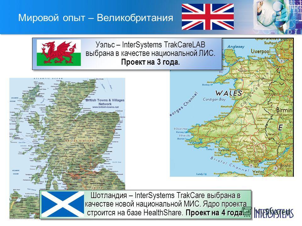 Мировой опыт – Великобритания Уэльс – InterSystems TrakCareLAB выбрана в качестве национальной ЛИС. Проект на 3 года. Шотландия – InterSystems TrakCare выбрана в качестве новой национальной МИС. Ядро проекта строится на базе HealthShare. Проект на 4