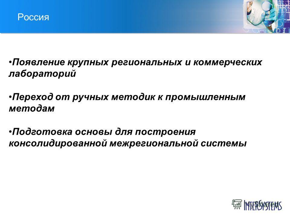 Россия Появление крупных региональных и коммерческих лабораторий Переход от ручных методик к промышленным методам Подготовка основы для построения консолидированной межрегиональной системы