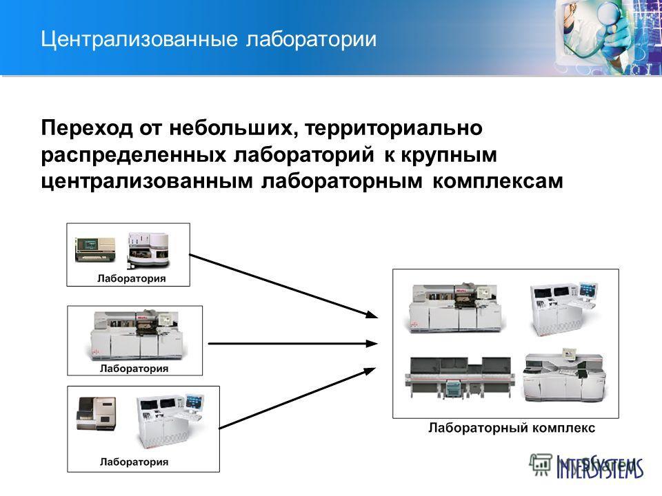 Централизованные лаборатории Переход от небольших, территориально распределенных лабораторий к крупным централизованным лабораторным комплексам
