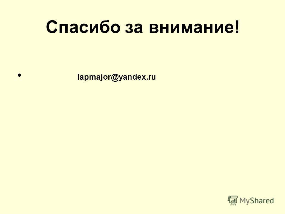Спасибо за внимание! lapmajor@yandex.ru