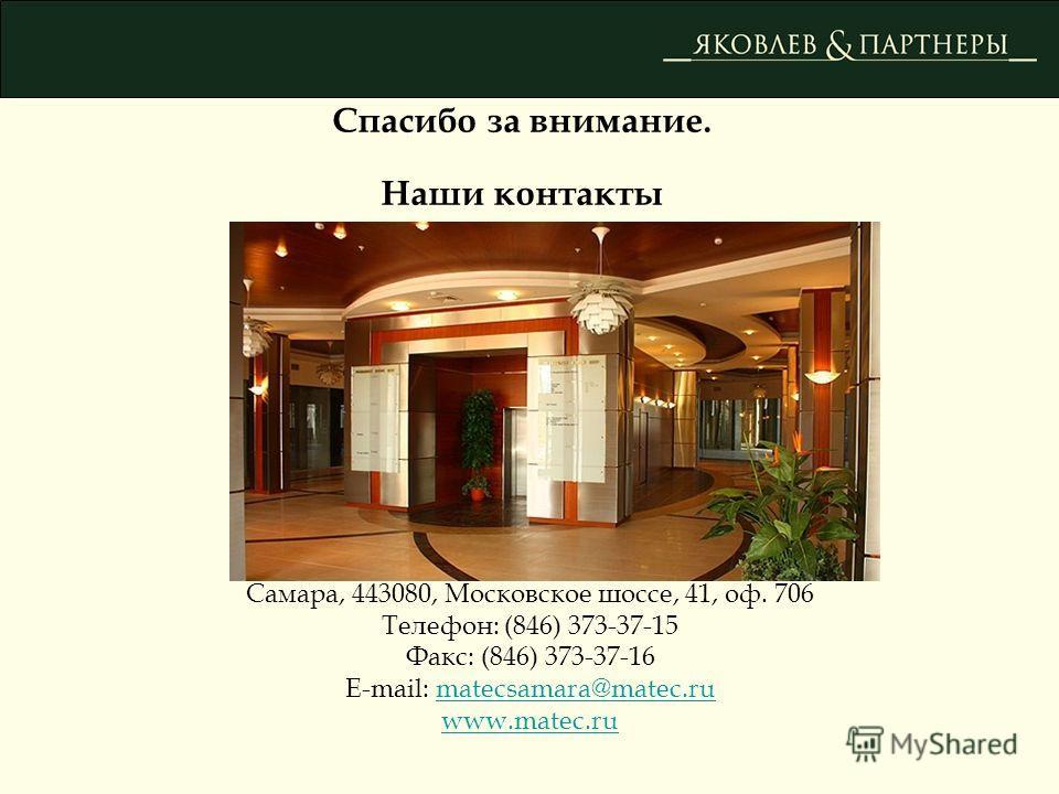 Спасибо за внимание. Наши контакты Самара, 443080, Московское шоссе, 41, оф. 706 Телефон: (846) 373-37-15 Факс: (846) 373-37-16 E-mail: matecsamara@matec.rumatecsamara@matec.ru www.matec.ru
