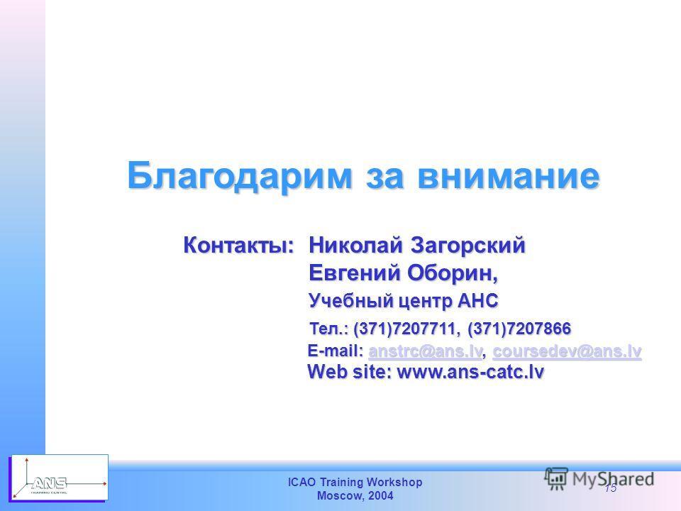 ICAO Training Workshop Moscow, 2004 15 Благодарим за внимание Николай Загорский Николай Загорский Евгений Оборин, Евгений Оборин, Учебный центр АНС Учебный центр АНС Тел.: (371)7207711, (371)7207866 Тел.: (371)7207711, (371)7207866 E-mail: anstrc@ans