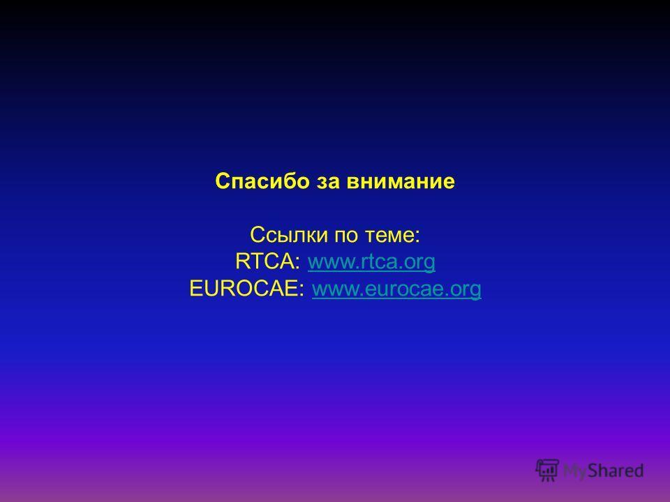Спасибо за внимание Ссылки по теме: RTCA: www.rtca.orgwww.rtca.org EUROCAE: www.eurocae.orgwww.eurocae.org