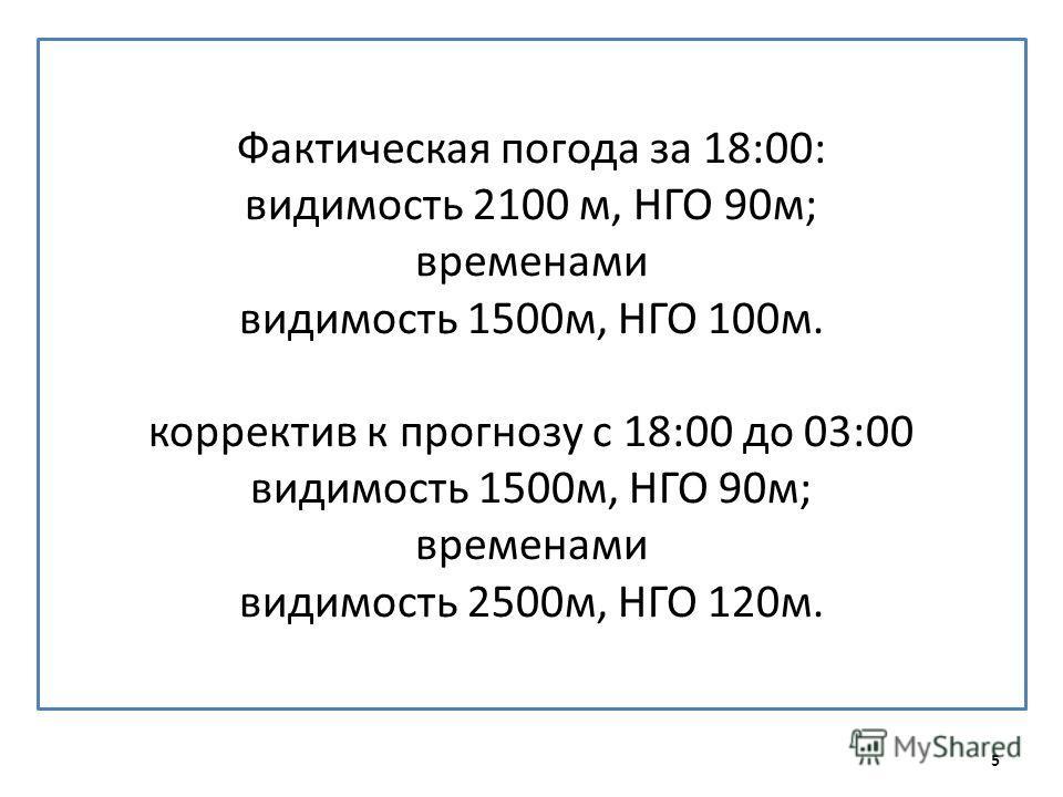 Фактическая погода за 18:00: видимость 2100 м, НГО 90м; временами видимость 1500м, НГО 100м. корректив к прогнозу с 18:00 до 03:00 видимость 1500м, НГО 90м; временами видимость 2500м, НГО 120м. 5