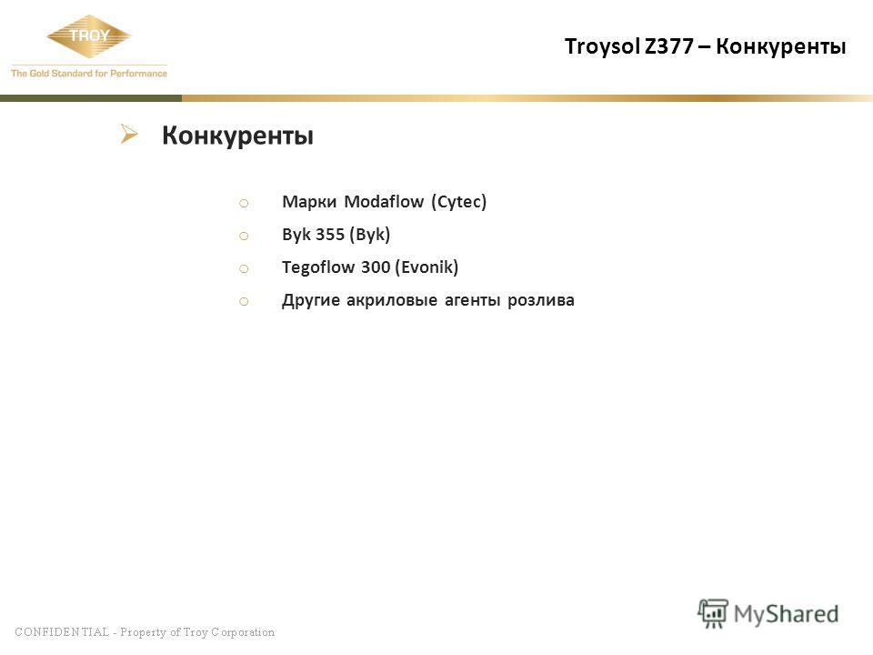 Troysol Z377 – Конкуренты Конкуренты o Марки Modaflow (Cytec) o Byk 355 (Byk) o Tegoflow 300 (Evonik) o Другие акриловые агенты розлива