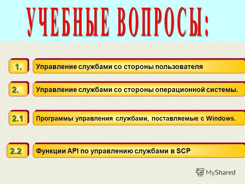 Управление службами со стороны пользователя 1.1.. Управление службами со стороны операционной системы. 2.2. Программы управления службами, поставляемые с Windows. 2.12.1 Функции API по управлению службами в SCP 2.22.2