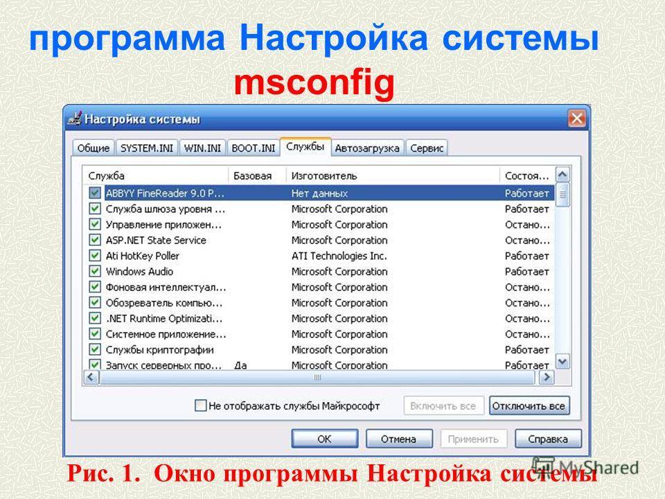 программа Настройка системы msconfig Рис. 1. Окно программы Настройка системы