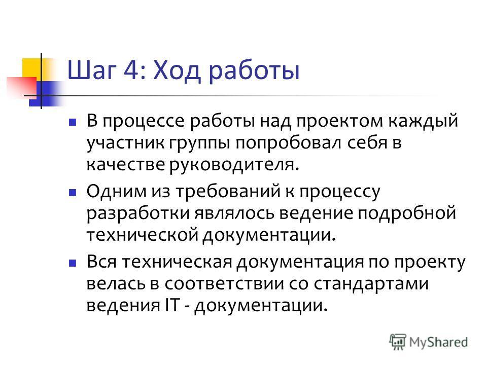 Шаг 4: Ход работы В процессе работы над проектом каждый участник группы попробовал себя в качестве руководителя. Одним из требований к процессу разработки являлось ведение подробной технической документации. Вся техническая документация по проекту ве
