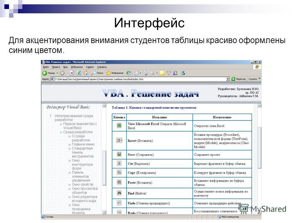 Интерфейс Для акцентирования внимания студентов таблицы красиво оформлены синим цветом.