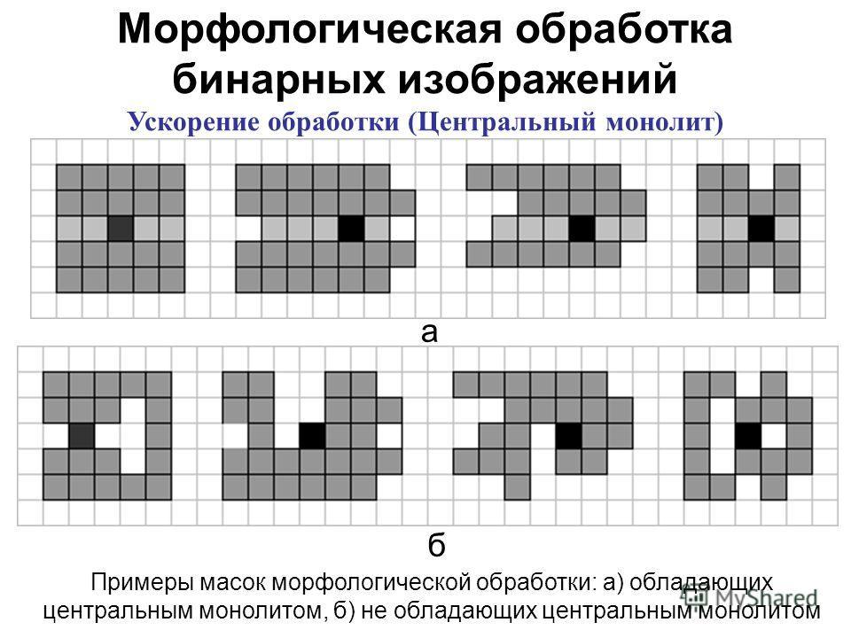 Морфологическая обработка бинарных изображений Ускорение обработки (Центральный монолит) Примеры масок морфологической обработки: а) обладающих центральным монолитом, б) не обладающих центральным монолитом а б