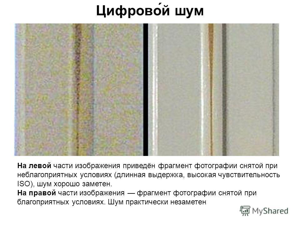 Цифрово́й шум На левой части изображения приведён фрагмент фотографии снятой при неблагоприятных условиях (длинная выдержка, высокая чувствительность ISO), шум хорошо заметен. На правой части изображения фрагмент фотографии снятой при благоприятных у