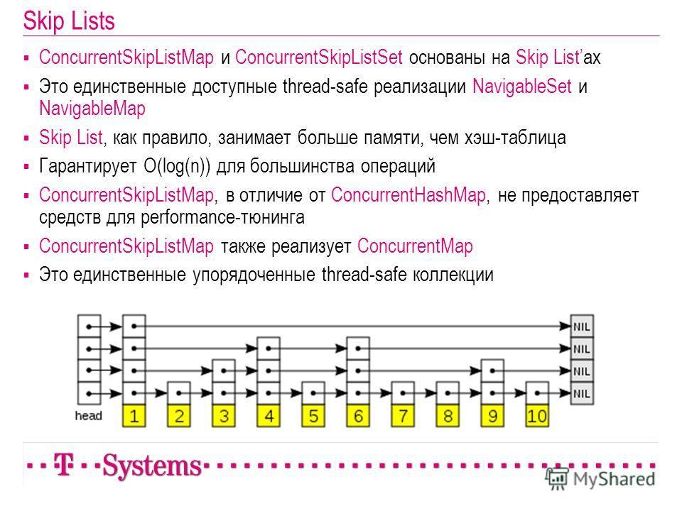 Skip Lists ConcurrentSkipListMap и ConcurrentSkipListSet основаны на Skip Listах Это единственные доступные thread-safe реализации NavigableSet и NavigableMap Skip List, как правило, занимает больше памяти, чем хэш-таблица Гарантирует O(log(n)) для б