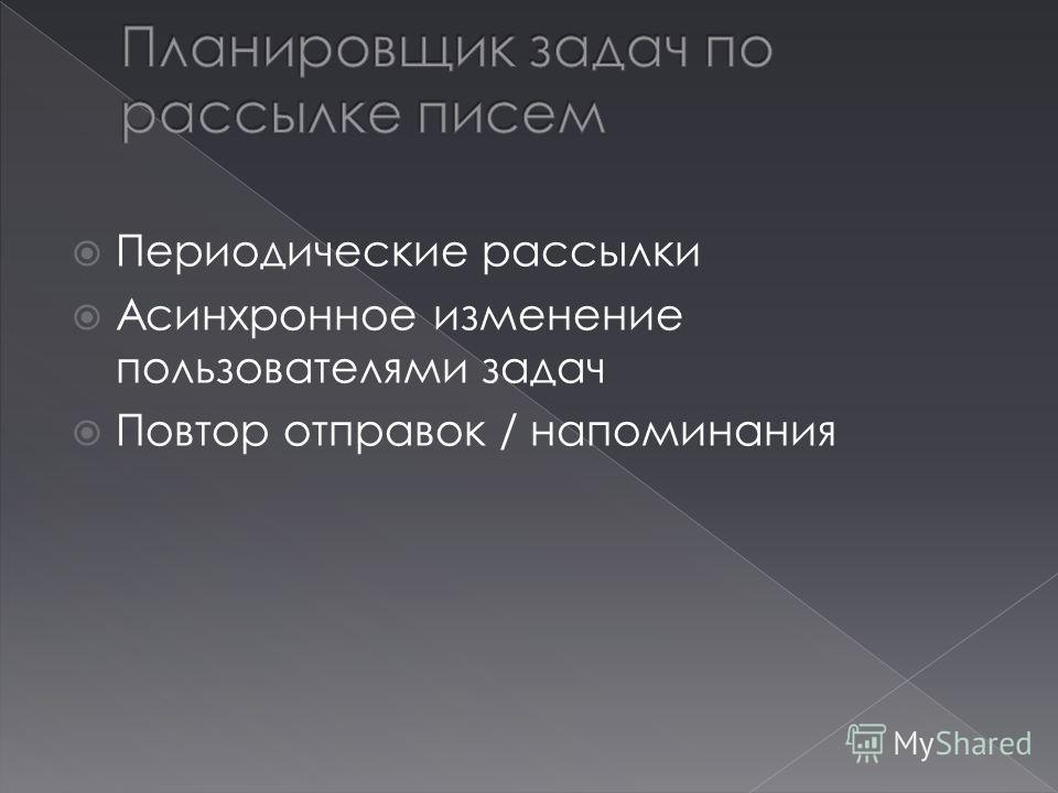 Периодические рассылки Асинхронное изменение пользователями задач Повтор отправок / напоминания