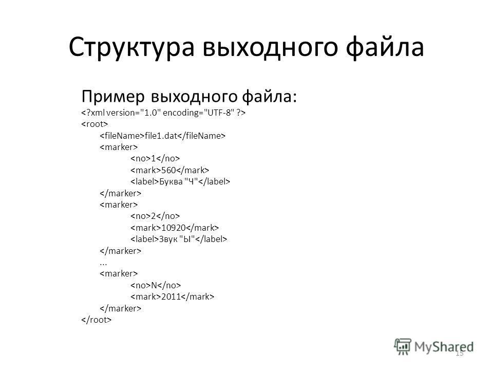 Структура выходного файла Пример выходного файла: file1.dat 1 560 Буква Ч 2 10920 Звук Ы... N 2011 15
