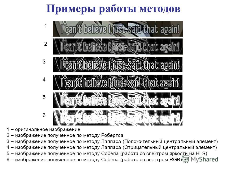 1 – оригинальное изображение 2 – изображение полученное по методу Робертса 3 – изображение полученное по методу Лапласа (Положительный центральный элемент) 4 – изображение полученное по методу Лапласа (Отрицательный центральный элемент) 5 – изображен