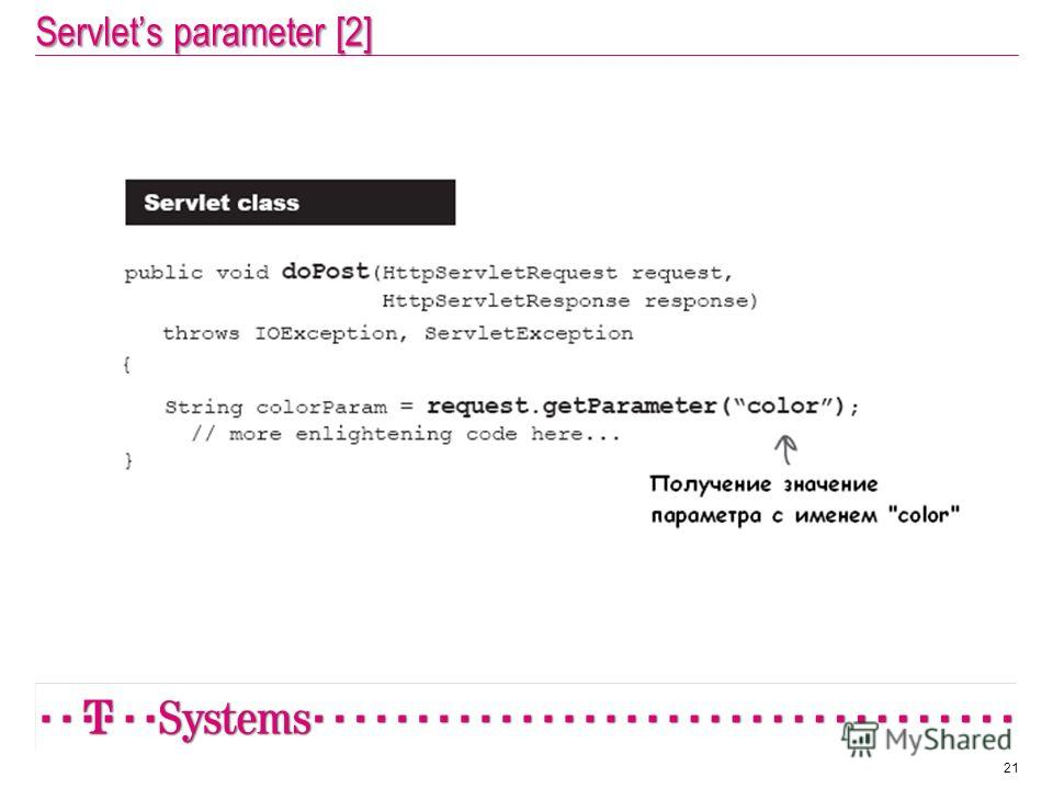 Servlets parameter [2] 21
