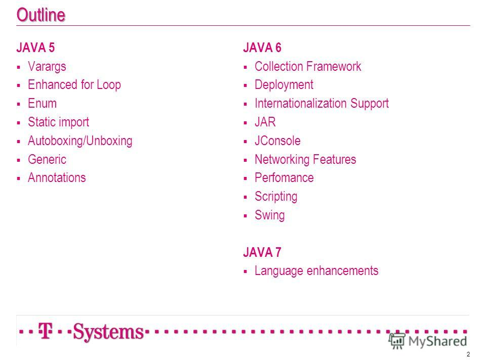 Outline JAVA 5 Varargs Enhanced for Loop Enum Static import Autoboxing/Unboxing Generic Annotations JAVA 6 Collection Framework Deployment Internationalization Support JAR JConsole Networking Features Perfomance Scripting Swing JAVA 7 Language enhanc