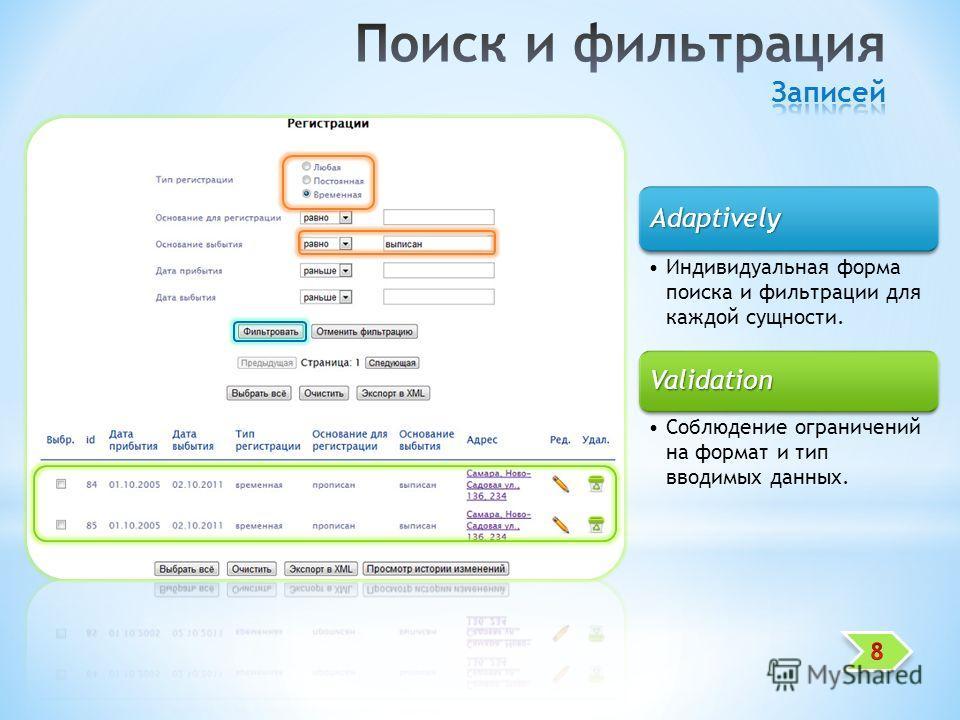 Adaptively Индивидуальная форма поиска и фильтрации для каждой сущности. Validation Соблюдение ограничений на формат и тип вводимых данных.
