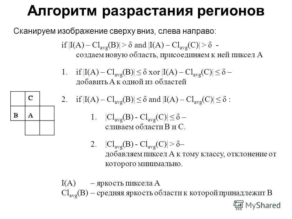 if |I(A) – Cl avg (B)| > δ and |I(A) – Cl avg (C)| > δ - создаем новую область, присоединяем к ней пиксел A 1.if |I(A) – Cl avg (B)| δ xor |I(A) – Cl avg (C)| δ – добавить A к одной из областей 2.if |I(A) – Cl avg (B)| δ and |I(A) – Cl avg (C)| δ : 1