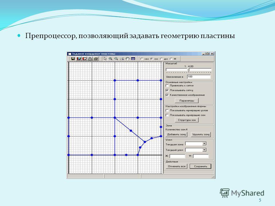 Препроцессор, позволяющий задавать геометрию пластины 5