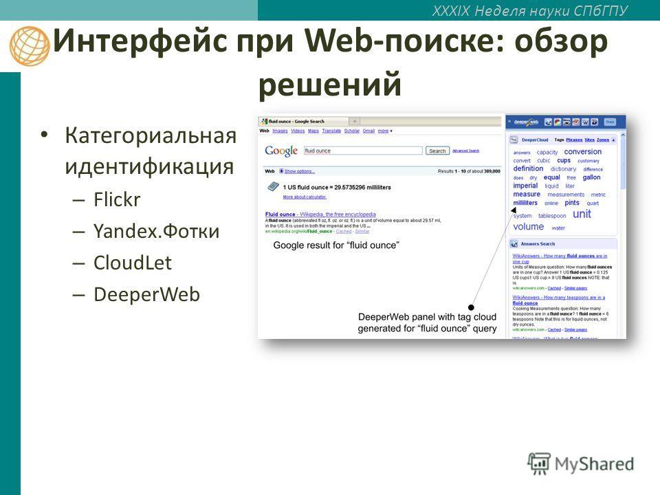 XXXIX Неделя науки СПбГПУ Интерфейс при Web-поиске: обзор решений Категориальная идентификация – Flickr – Yandex.Фотки – CloudLet – DeeperWeb