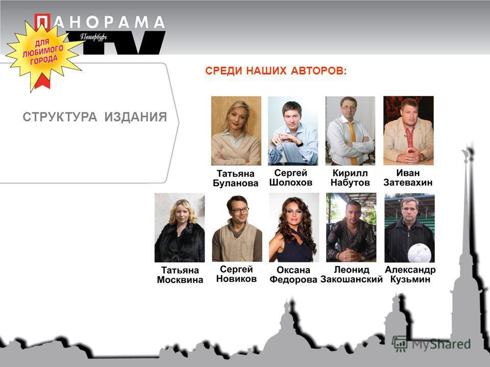 СТРУКТУРА ИЗДАНИЯ СРЕДИ НАШИХ АВТОРОВ:
