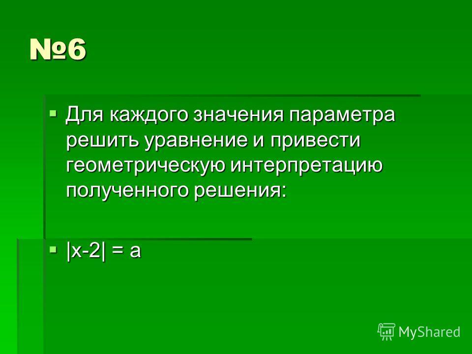 6 Для каждого значения параметра решить уравнение и привести геометрическую интерпретацию полученного решения: Для каждого значения параметра решить уравнение и привести геометрическую интерпретацию полученного решения: |x-2| = a |x-2| = a