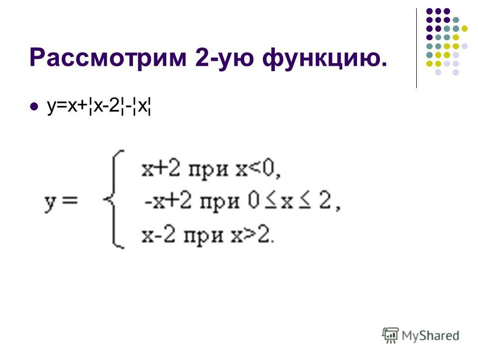 Рассмотрим 2-ую функцию. у=х+¦х-2¦-¦х¦