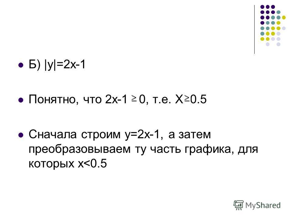 Б) |y|=2x-1 Понятно, что 2х-1 0, т.е. Х 0.5 Сначала строим у=2х-1, а затем преобразовываем ту часть графика, для которых х
