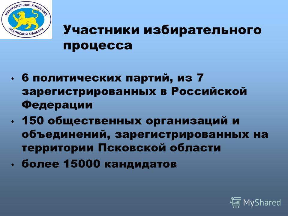 Участники избирательного процесса 6 политических партий, из 7 зарегистрированных в Российской Федерации 150 общественных организаций и объединений, зарегистрированных на территории Псковской области более 15000 кандидатов