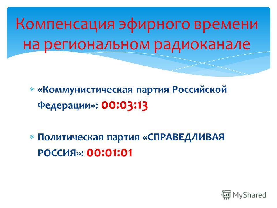 «Коммунистическая партия Российской Федерации»: 00:03:13 Политическая партия «СПРАВЕДЛИВАЯ РОССИЯ»: 00:01:01 Компенсация эфирного времени на региональном радиоканале