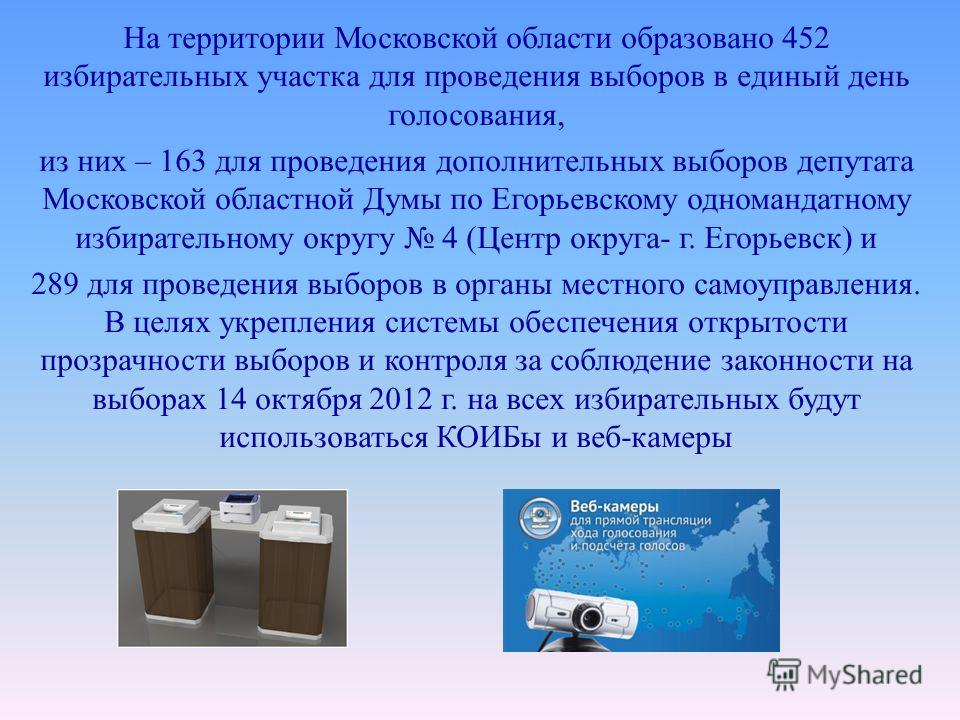 На территории Московской области образовано 452 избирательных участка для проведения выборов в единый день голосования, из них – 163 для проведения дополнительных выборов депутата Московской областной Думы по Егорьевскому одномандатному избирательном