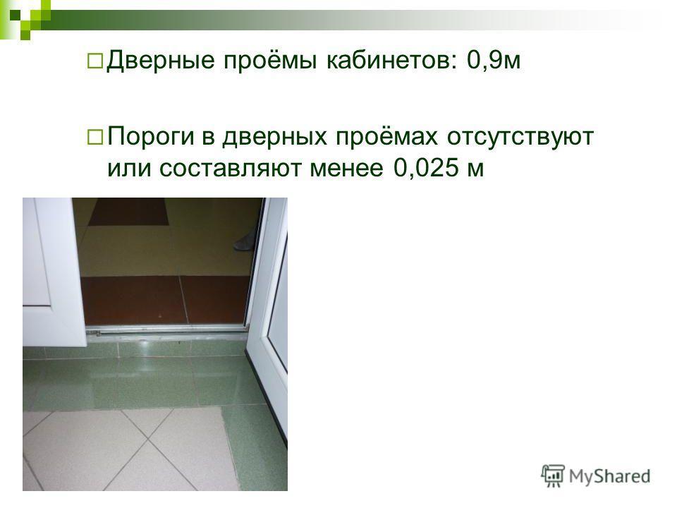 Дверные проёмы кабинетов: 0,9м Пороги в дверных проёмах отсутствуют или составляют менее 0,025 м