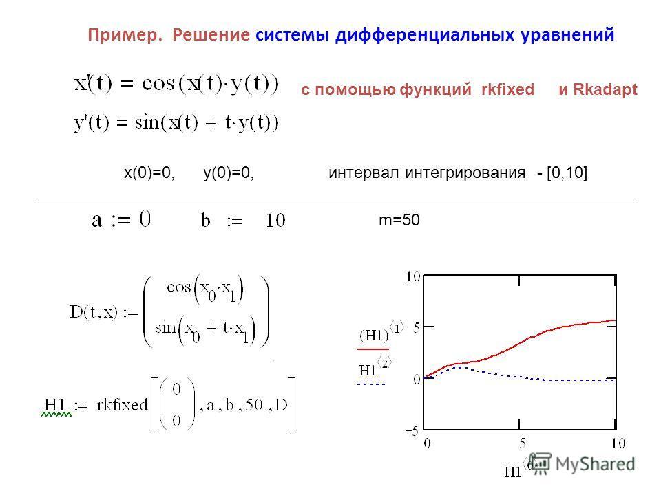 Пример. Решение системы дифференциальных уравнений x(0)=0, y(0)=0, интервал интегрирования [0,10], с помощью функций rkfixed и Rkadapt m=50