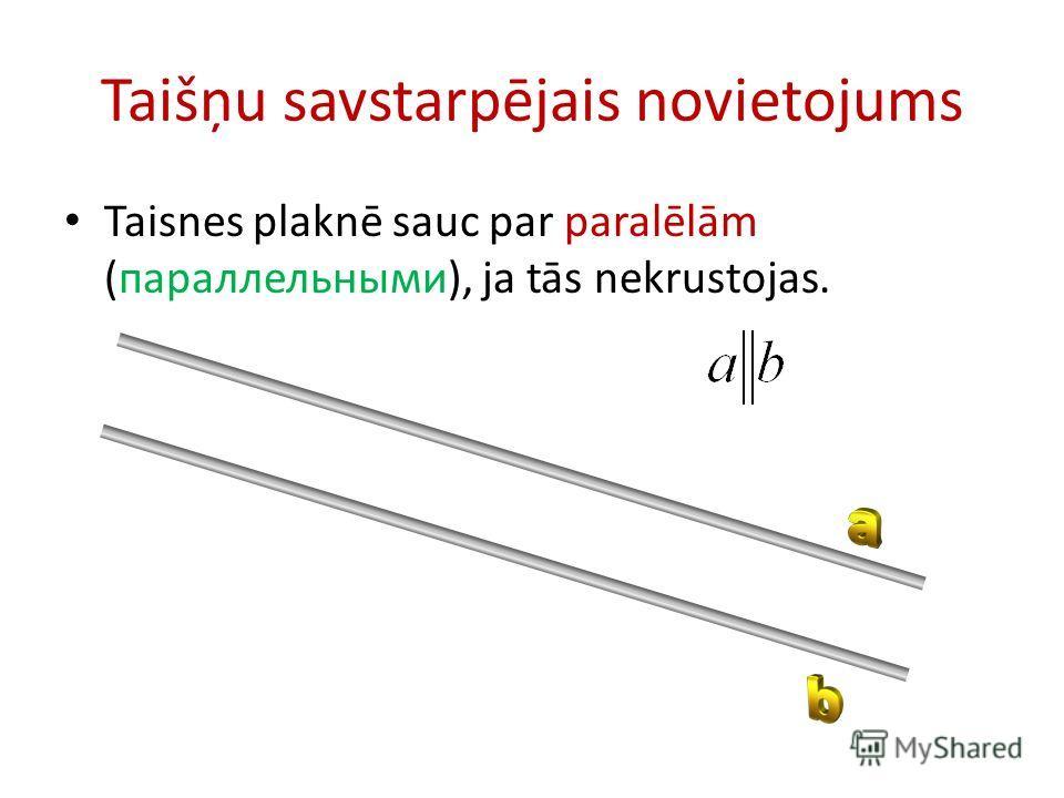 Taišņu savstarpējais novietojums Taisnes plaknē sauc par paralēlām (параллельными), ja tās nekrustojas.