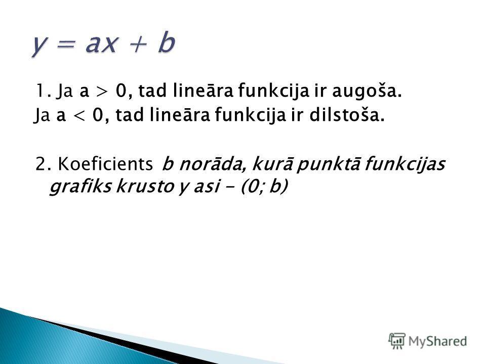 1. Ja a > 0, tad lineāra funkcija ir augoša. Ja a < 0, tad lineāra funkcija ir dilstoša. 2. Koeficients b norāda, kurā punktā funkcijas grafiks krusto y asi - (0; b)