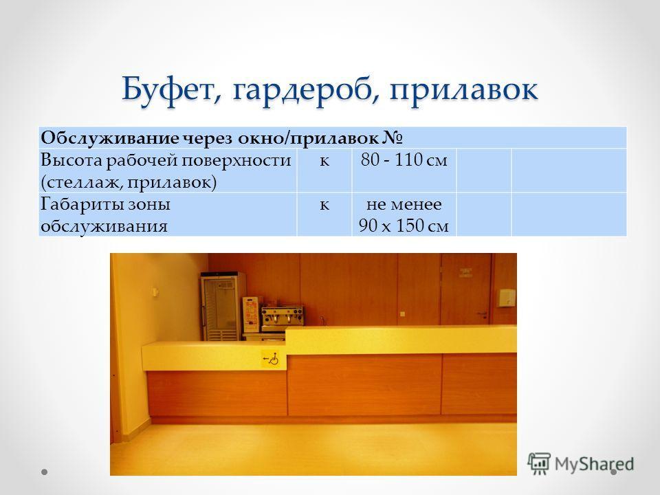 Буфет, гардероб, прилавок Обслуживание через окно/прилавок Высота рабочей поверхности (стеллаж, прилавок) к80 - 110 см Габариты зоны обслуживания кне менее 90 x 150 см