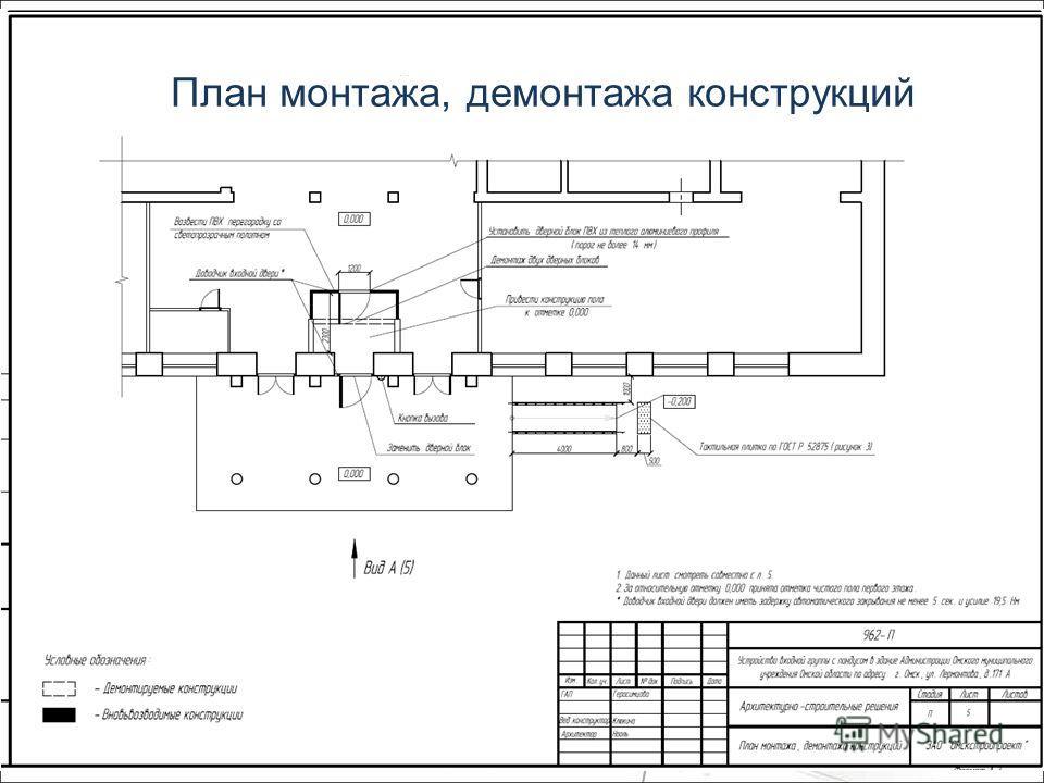 План монтажа, демонтажа конструкций