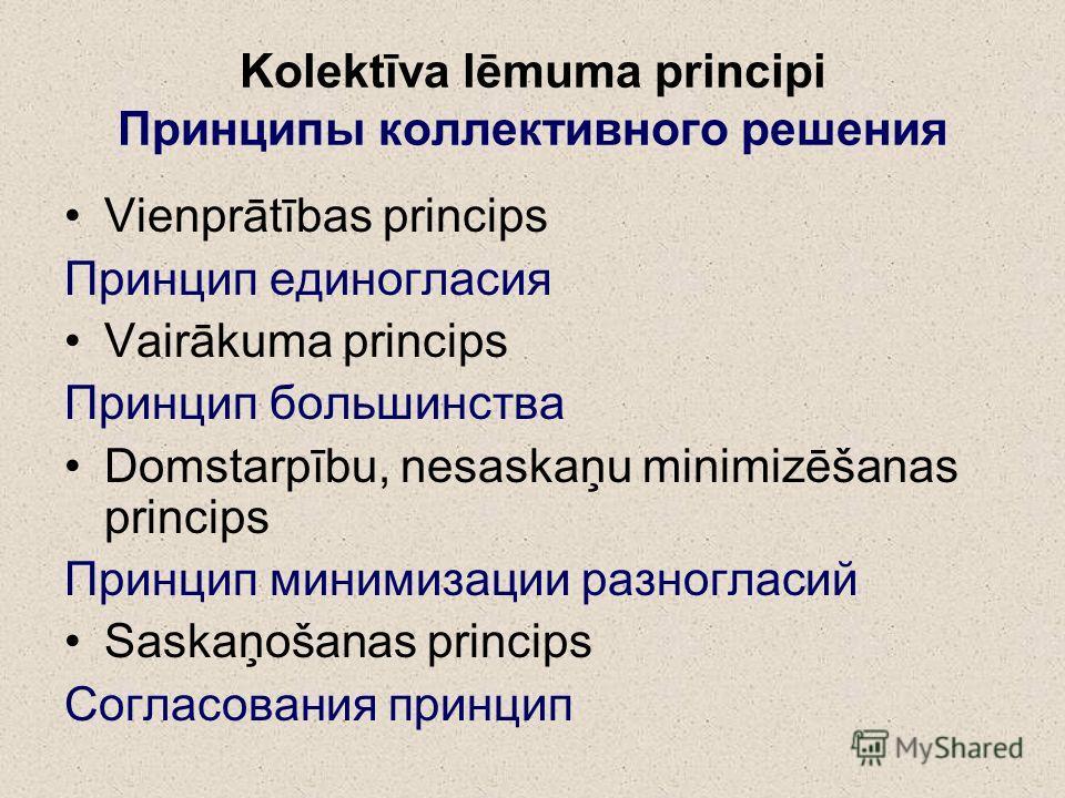 Kolektīva lēmuma principi Принципы коллективного решения Vienprātības princips Принцип единогласия Vairākuma princips Принцип большинства Domstarpību, nesaskaņu minimizēšanas princips Принцип минимизации разногласий Saskaņošanas princips Согласования
