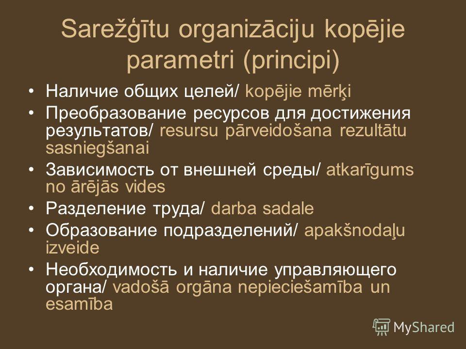 Sarežģītu organizāciju kopējie parametri (principi) Наличие общих целей/ kopējie mērķi Преобразование ресурсов для достижения результатов/ resursu pārveidošana rezultātu sasniegšanai Зависимость от внешней среды/ atkarīgums no ārējās vides Разделение
