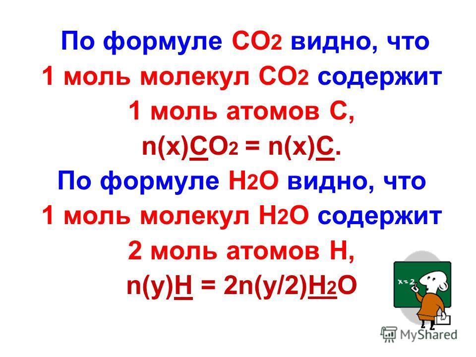 По формуле CO 2 видно, что 1 моль молекул CO 2 содержит 1 моль атомов С, n(x)CO 2 = n(x)C. По формуле Н 2 О видно, что 1 моль молекул Н 2 О содержит 2 моль атомов Н, n(y)H = 2n(y/2)H 2 O