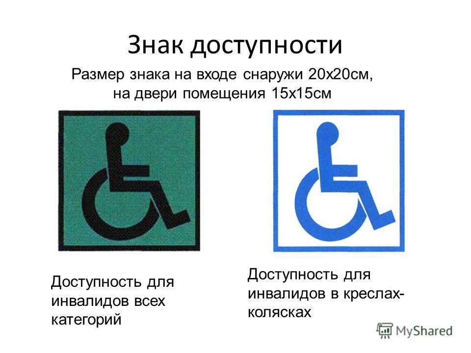 Знак доступности Доступность для инвалидов всех категорий Доступность для инвалидов в креслах- колясках Размер знака на входе снаружи 20х20см, на двери помещения 15х15см
