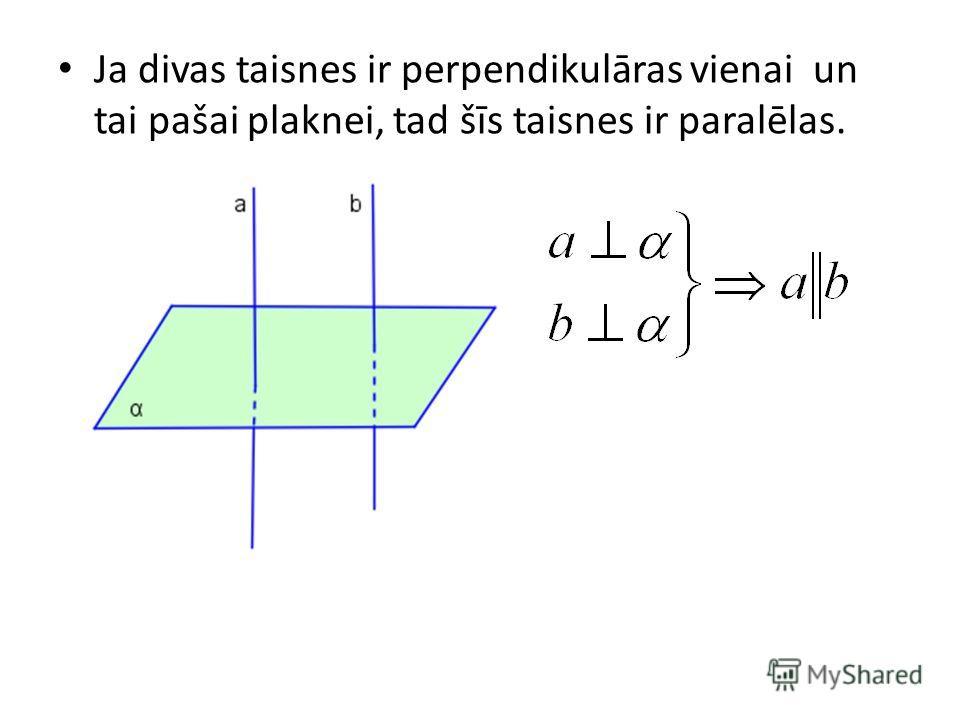 Ja divas taisnes ir perpendikulāras vienai un tai pašai plaknei, tad šīs taisnes ir paralēlas.