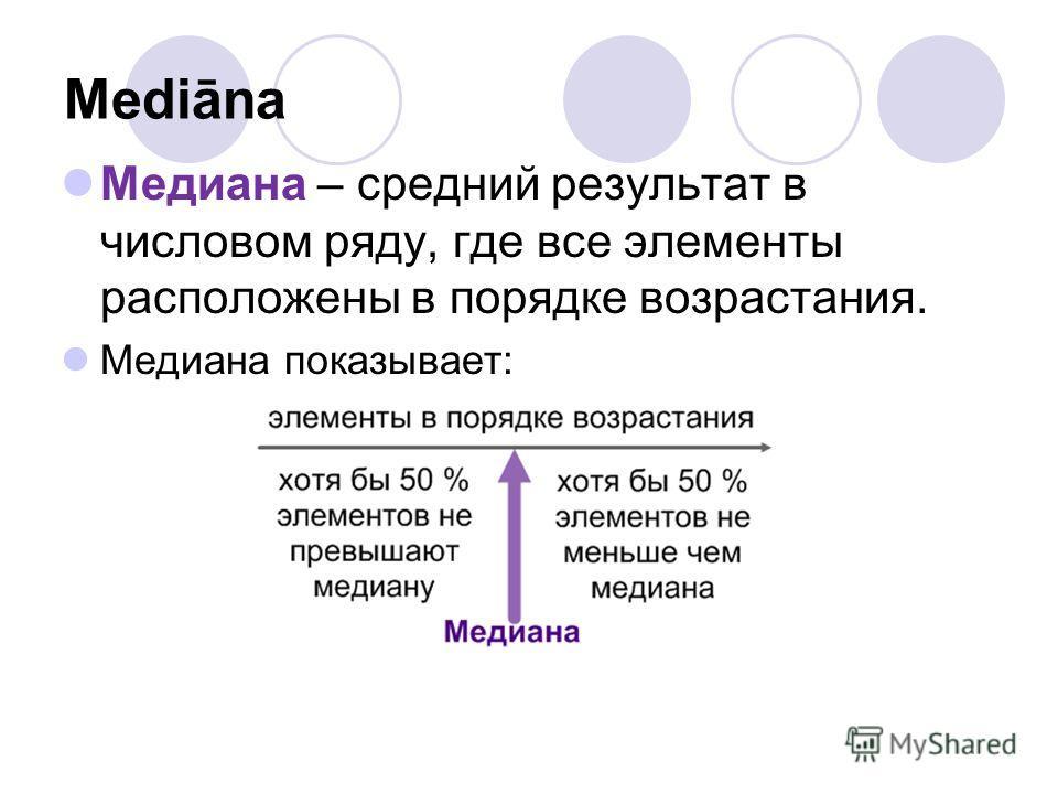 Mediāna Медиана – средний результат в числовом ряду, где все элементы расположены в порядке возрастания. Медиана показывает: