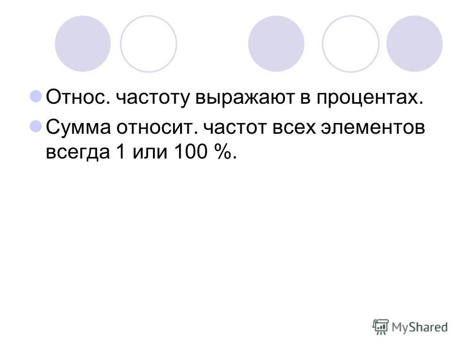 Относ. частоту выражают в процентах. Сумма относит. частот всех элементов всегда 1 или 100 %.