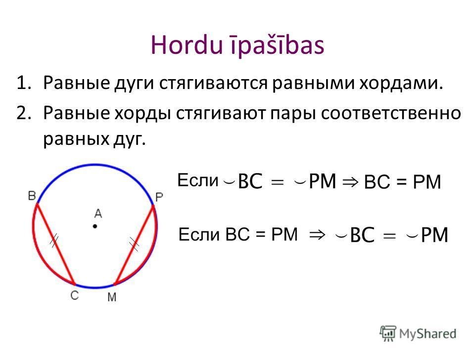 Hordu īpašības 1.Равные дуги стягиваются равными хордами. 2.Равные хорды стягивают пары соответственно равных дуг.
