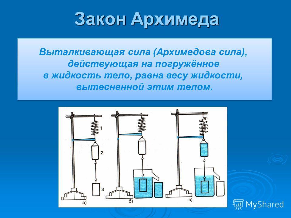 Закон Архимеда Выталкивающая сила (Архимедова сила), действующая на погружённое в жидкость тело, равна весу жидкости, вытесненной этим телом. Выталкивающая сила (Архимедова сила), действующая на погружённое в жидкость тело, равна весу жидкости, вытес