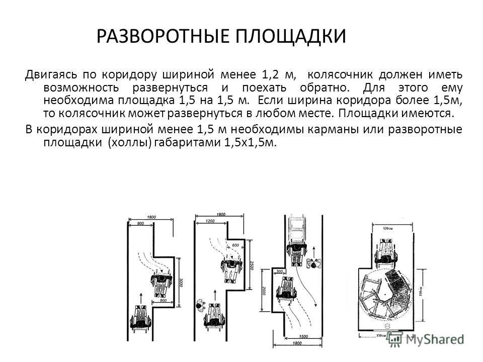 РАЗВОРОТНЫЕ ПЛОЩАДКИ Двигаясь по коридору шириной менее 1,2 м, колясочник должен иметь возможность развернуться и поехать обратно. Для этого ему необходима площадка 1,5 на 1,5 м. Если ширина коридора более 1,5м, то колясочник может развернуться в люб