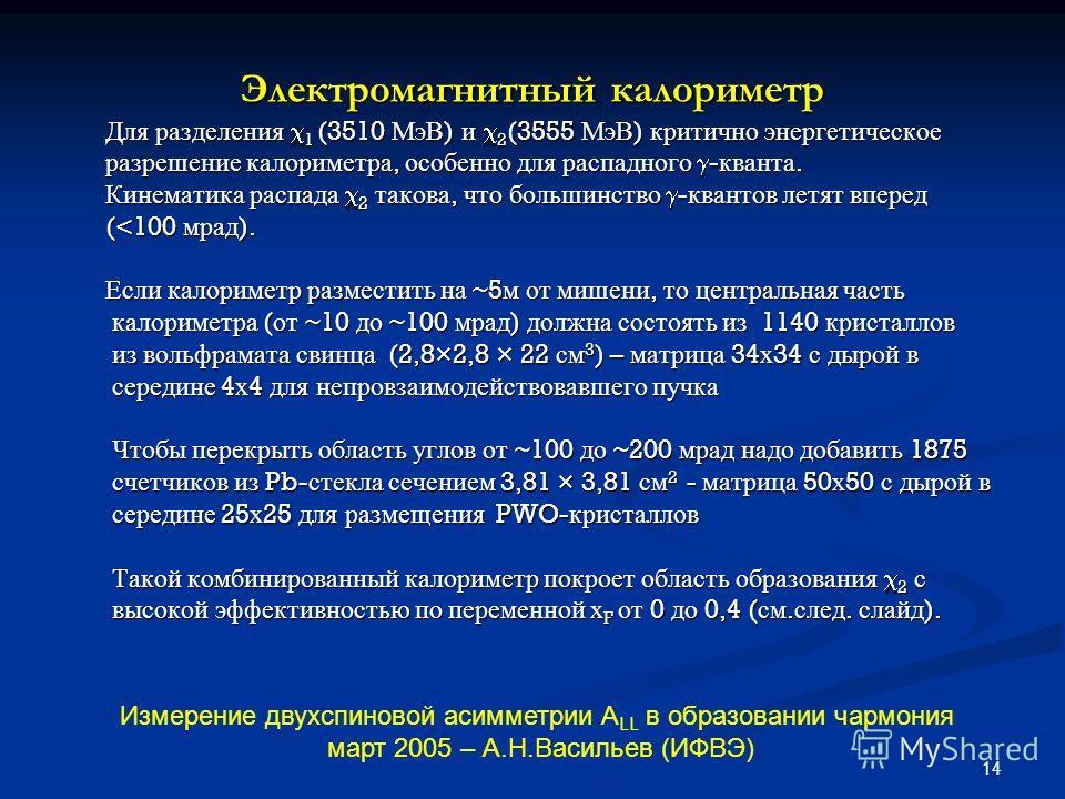 14 Электромагнитный калориметр Для разделения 1 (3510 МэВ ) и 2 (3555 МэВ ) критично энергетическое Для разделения 1 (3510 МэВ ) и 2 (3555 МэВ ) критично энергетическое разрешение калориметра, особенно для распадного - кванта. разрешение калориметра,